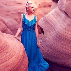 Anthropologie Lil Maxi Silk Endless Skies Dress